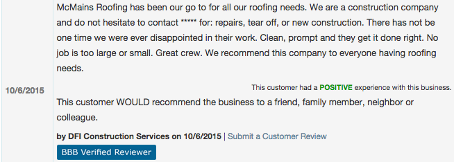 Roofing Customer Review Seattle WA